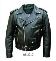 Mens Black Buffalo Leather Classic Biker Motorcycle Jacket