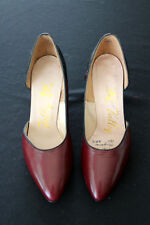 Vintage 1960'S Red And Black Leather Shoes Size 6B
