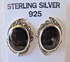 New Onyx Marcasite Sterling Siver Stamped 925 Art Deco Vintage style Earrings