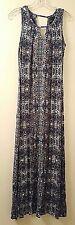 CYNTHIA ROWLEY  Brown & Blue  Geometric Print Sleeveless Maxi Dress  S