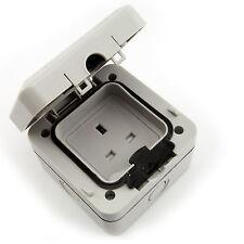 Waterproof Outdoor Garden UK 3 Pin 240v Plug Socket - 1 Gang Unswitched IP66