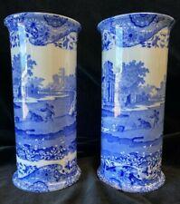 More details for copeland spode - blue italian - pair sleeve vases