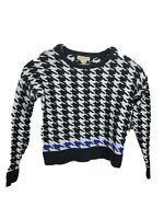Michael Kors Black And White Striped Sweater cotton heavy Shirt Top pullover