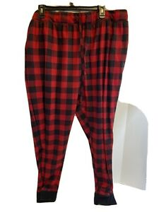 Fruit Of The Loom Men's Size 2X 44-46 Red Plaid Waffle Jogger Pajamas Pants