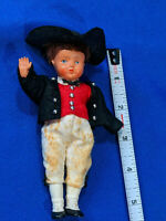 """1950s Storybook Doll 6"""" Hard Plastic VTG Jointed Arms Legs Boy Soldier"""