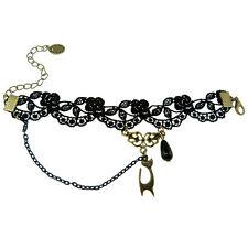 Bracelet femme réglable Dentelle noir chat doré halloween gothique perle goutte