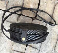 "New Black Original Coconut Fire Rattan Bali Bag 7.75"" Round Natural Wicker Linen"