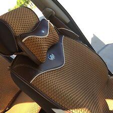 Seat Cover Shift Knob Steering Wheel Cushion Light Brown Cloth 3D Design 44001c
