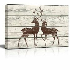 Wall26 - Stag and Doe in Block Print Artwork - Rustic Canvas Wall Art - 12x18
