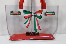 Moschino Clear PVC Ribbon Shopper Tote Bag Vintage 90s Bow Tie Italy Red Large