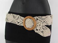 Women Beige White Brown Knited Braided Fabric Fashion Belt Round Wood Buckle S M