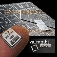 1 Gram 999 Pure Solid Fine Silver Bullion Valcambi Suisse Bar Investment COA