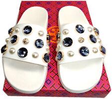 Tory Burch Logo Crystals Flip Flop Jelly Sandal Flat Vail Pearl Pool Slide Sz 7
