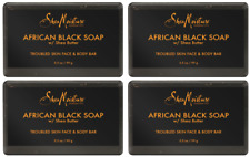 4 Shea Moisture African Black Soap with Shea Butter Troubled Skin Face Body Bar