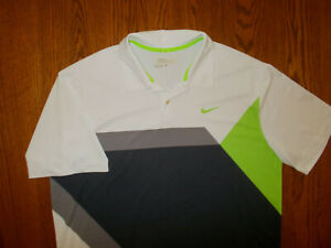 NIKE GOLF TOUR PERFORMANCE GRAY WHITE & GREEN POLO SHIRT MENS LARGE EXCELLENT