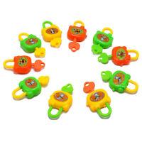 10pcs/set Mini Padlock Luggage Safety Lock Kids Intelligence Toy w/Key Random