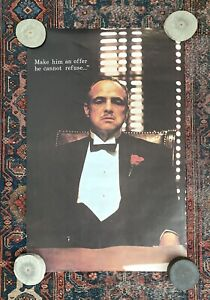 •Vintage Brando THE GODFATHER Poster•Make Him An Offer He Cannot Refuse•Matte