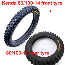 "KENDA 60/100-14 & 80/100 - 12"" Inch Front Rear Knobby Tire + Inner Tube Dirtbike"