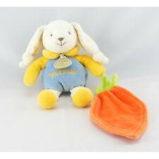 Doudou et compagnie lapin ptit doux bleu jaune carotte - Lapin Classique