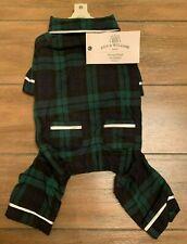 Flannel Plaid Dog Pajamas - Medium - Blue/Black Pjs - Bee & Willow - Nwt