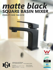COCO | Square MATTE BLACK Bathroom Basin Sink Flick Mixer Tap w Ceramic Disc