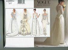 Vogue 1325 Bridal Wedding Dress Gown Princess Original Pattern Train Size 6-10