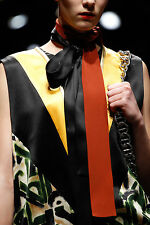 PRADA FALL 2014 RUNWAY Brown Silk Skinny SCARF ~NWT~
