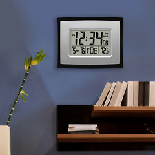 Atomic Digital Wall Clock w self-setting time and date Indoor Temperature Silver