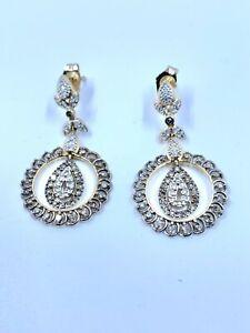 ANTIQUE 14K YELLOW GOLD NATURAL WHITE DIAMOND EARRINGS