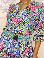 1980s Vintage Colorful Rainbow Maxi Dress Size Medium