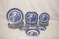 23pc Vintage Johnson Brothers WILLOW BLUE Dinner Salad Bread Plates & Bowls Set