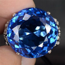 Women Men 925 Silver 5CT Blue Sapphire Wedding Engagement Ring Size 8