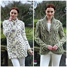 KNITTING PATTERN Ladies Cable Coat and Jacket Super Chunky King Cole 4613