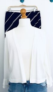 Calvin Klein Ruffled Long Sleeve White Shrug Size XL