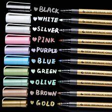 Metallic Markers Glitter Paint Pen Fine Tip, Ohuhu Set of 10 Marker for Diy Card
