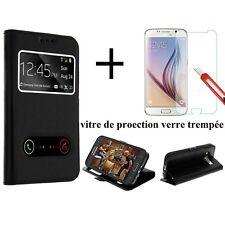 Film verre trempe HD + Housse Etui Coque Pochette Noir Huawei P10 Lite