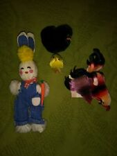 Vintage Easter Basket Eggs Chenille Chicks Mom Baby PomPom Chickens Bunny Lot
