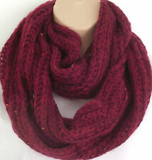 Superb Chunky Knit Raspberry Mix Circle Loop Infinity Scarf Snood Christmas Gift