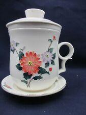 Teavana  Fine Porcelain Tea Cup/Saucer w/Infuser & Lid 3D Texture