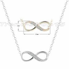 Infinity Halskette Anhänger Unendlichkeit Farbe Silber Geschenk Kette ♥ Strass
