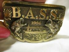 1990 Bass Anglers Sportsman Society Brass Belt Buckle Excellent Condition!