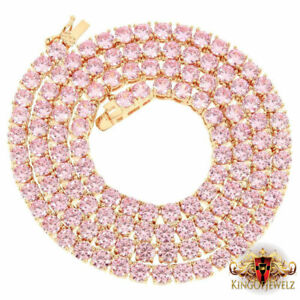 14K Rose Gold Finish Tennis Link 1 Row Chain Necklace Pink Solitaire Lab Diamond