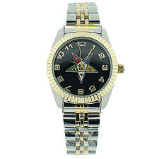 Order of the Eastern Star Masons Watch OES Symbol DuoTone Gold Steel Black Face
