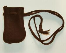 "Medicine Bag Smooth Top Grain Leather 2.5""x3.5"" Long 32"" Drawstring DARK BROWN"