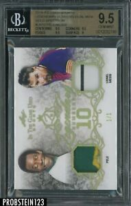 2019 Leaf  ITG Used Legendary Numbers Pele Lionel Messi Jersey Patch 1/1 BGS 9.5