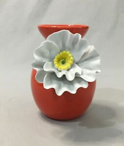 Anthropologie Decorative Ceramic Flower Vase Bloom Red 3D White Daffodil