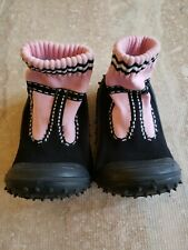 The Original Skidders Baby Booties Girl's Size 24 Month Pink & Black First Shoes