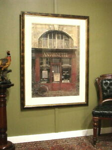 LARGE FRAMED + MATTED OLEOGRAPH CAFE PRINT ~ SUIT FRENCH, ANTIQUES, CONTEMPORARY
