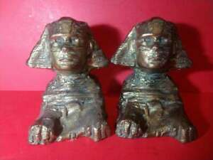 VINTAGE WEIDLICH BROTHERS EGYPTIAN BOOKENDS, SPHINX, CIRCA 1930 #751
