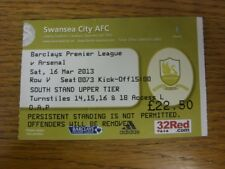 16/03/2013 Ticket: Swansea City v Arsenal  (folded). Thanks for viewing this ite